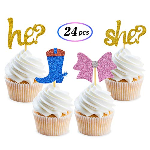 24 Pack Gender Reveal Cupcake Toppers Glitter boots or bows Cupcake for Boy or Girl Baby Shower Cake Food Decoration Supplies Wild West Baby Reveal Baby Shower Cake Decorations ()