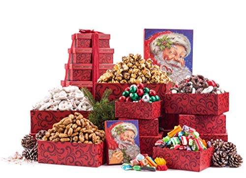 Benevelo Gifts 6 Tier Gourmet Nuts & Snacks Holiday Gift Set | Chocolate Caramel Drizzled Popcorn, Peppermint Pretzels, Honey Glazed Almonds, Old Fashioned Christmas Candy Mix, and Holly Jolly Mix