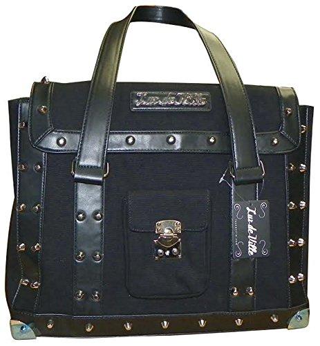 Retro-Black-Canvas-Mini-Weekender-Studded-Hand-Bag-with-Lock