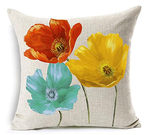 (Cotton Linen Square Decorative Throw Pillow Case Cushion Cover Enchanting Beautiful Tricolor Red Yellow Blue Poppy Flowers Gift Anniversary Day Present 18