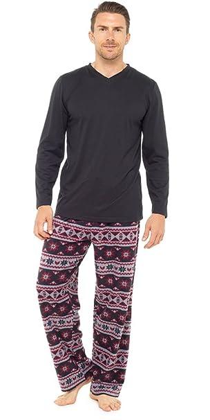 para Hombre cálido Forro Polar Jersey Top & Pantalones Pijama Ropa de Dormir Pijama Lounge Wear