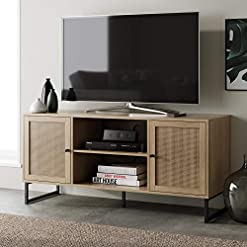 Living Room Nathan James Mina Modern TV Stand Entertainment Cabinet, Console with a Natural Wood Finish and Matte Accents with… modern tv stands