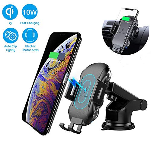 (Wireless Car Charger Mount, XSN Auto Clamping 7.5W /10W Fast Charging Car Phone Holder, Windshield Dashboard Air Vent Compatible with Samsung Galaxy S10/S10+/S9+,iPhone Xs/Xs Max/XR/X and More (Black) )