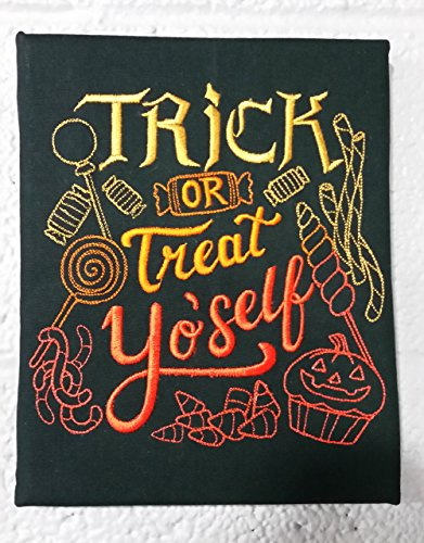 Trick or Treat Yo'self Halloween Embroidered Canvas Wall