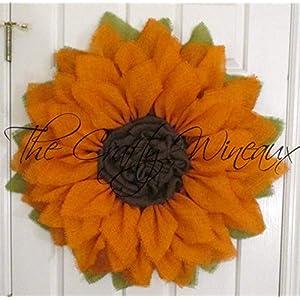 Extra Large 30″ Orange Burlap Sunflower Wreath by The Crafty WineauxTM