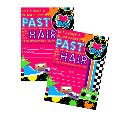 80's Themed Halloween Party Invitations (80s Themed Party Supply Decor Invitation (Big Hair)
