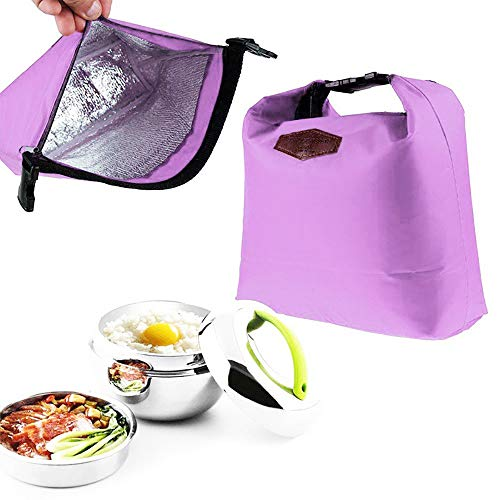HighlifeS Lunch Bag Waterproof Thermal Fashion Cooler Insulated Lunch Box More Colors Portable Tote Storage Picnic Bags (Purple) by HighlifeS (Image #5)