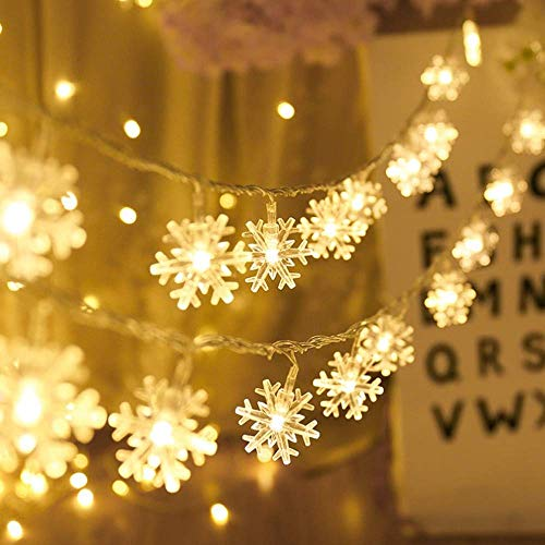 AODINI Snowflake String Lights 16 ft 40 LED Fairy Lights Battery Operated Waterproof for Xmas Garden Patio Bedroom Party Decor Indoor Outdoor Celebration Lighting, Warm White (Snowflake) ()