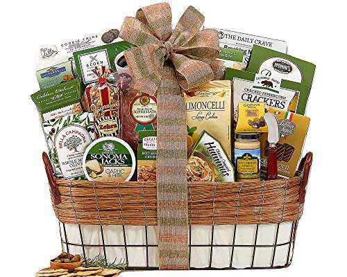 Gourmet Food Gift Basket Chocolate, Crackers, Peanut Brittle, Hummus, Olives, Cheese Spread and more