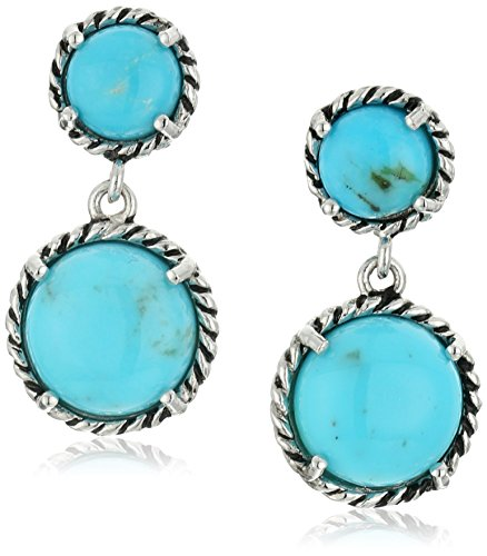Genuine Turquoise Drop with Rope Detail Dangle Earrings