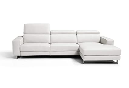 Whiteline Furniture Light Grey Augusto Sectional Leather Sofa