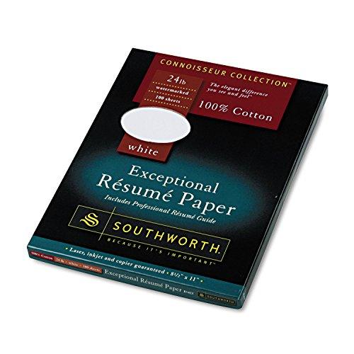 Southworth R14CF 100% Cotton Resume Paper White 24 lbs. Wove 8-1/2 x 11 100/Box ()