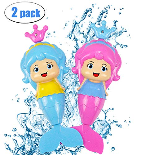 BDwing Mermaid Baby Bath Toy Mermaid Wind Up Floating Water Toys for Kids Toddlers - Swimming Pool Beach Bathing Time Bath Tub Fun - Color Random(2 Pack) (2 Pack) ()