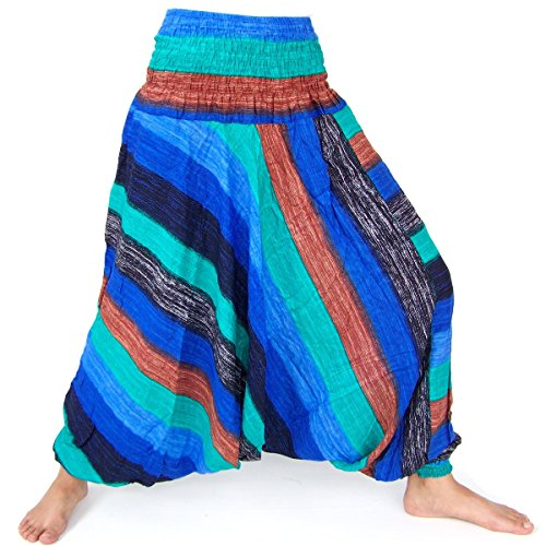 Haremshose, Aladinhose, Pluderhose, Hmong Style, Handarbeit, blau