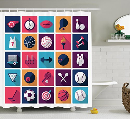 Ambesonne Olympics Decorations Shower Curtain Set, Sport Icons Image with Whistle Stopwatch Bowling and Various Types of Balls, Bathroom Accessories, 75 inches Long, Navy ()