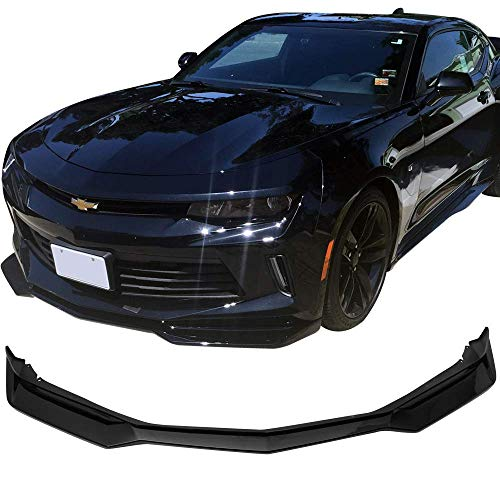 (Front Bumper Lip Fits 2016-2018 Chevy Camaro | ZL1 Style Glossy Black PP Front Lip Finisher Under Chin Spoiler Add On by IKON MOTORSPORTS | 2017 )