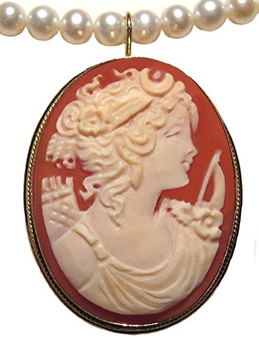 Goddess Diana Cameo Broach Pendant Master Carved, Shell Sterling Silver 18k Gold Overlay Italian by cameosRus (Image #5)'