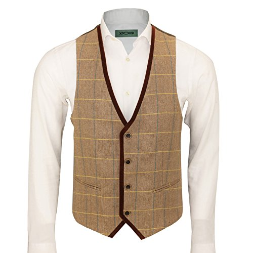 (Mens Vintage Herringbone Tweed Check Velvet Trim Retro Waistcoat Oak Brown Grey [Chest UK 54 EU 64,Light Oak])