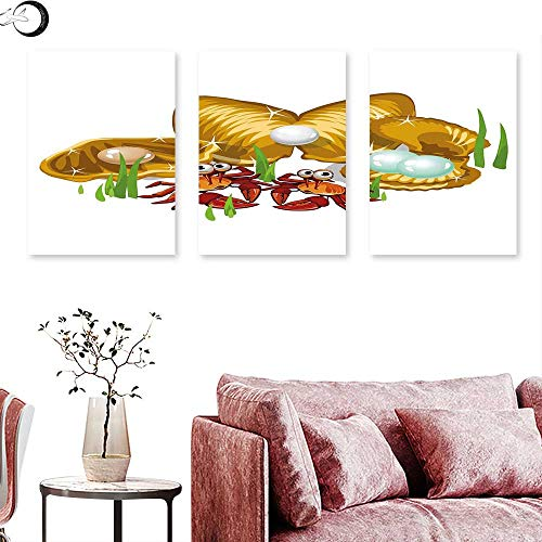 - J Chief Sky Crabs Canvas Prints Wall Art Sea Life Theme Cartoon Style Three Gold Shells with Pearls and Crabs Drawn Print Wall Panel Art Ginger Mustard Triptych Art Canvas W 24