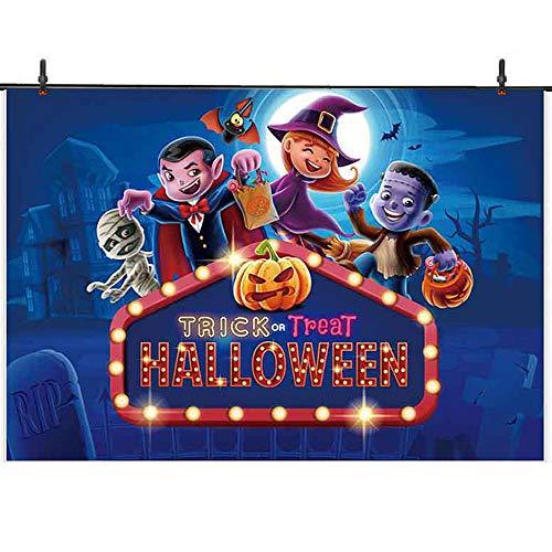 Halloween Cardboard Backdrops (Allenjoy 7x5ft Trick or Treat Themed Party Neon Halloween Photography Background Pumpkin Backdrop for Cosplay Mummy Vampire Sorcerer Franken Banner Decors Children Photo)