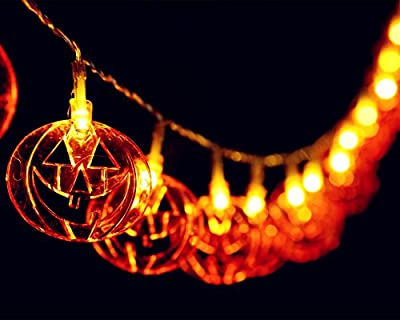 LED String Lights 20 Flat Pumpkin Decorative Lights for Indoor Outdoor Bedroom Patio Garden Wedding Party Decorations