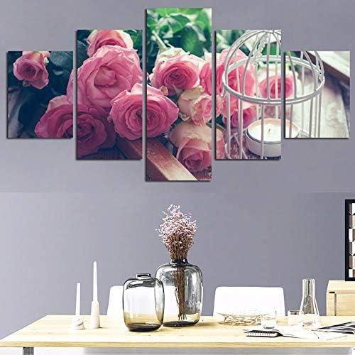 Imagen en Lienzo Arte de la Pared Sala de Estar en casa 5 Piezas/Piezas Rosas Rosas Decoración Modular Carteles HD Impreso Pintura Moderna: Amazon.es: Hogar