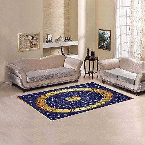 InterestPrint Sun Moon Stars Zodiac Astrology Area Rug Cover 5' x 3'3, Horoscope Retro Throw Polyester Rayon Fiber Carpet Rugs Cover for Home Living Room Bedroom Decor