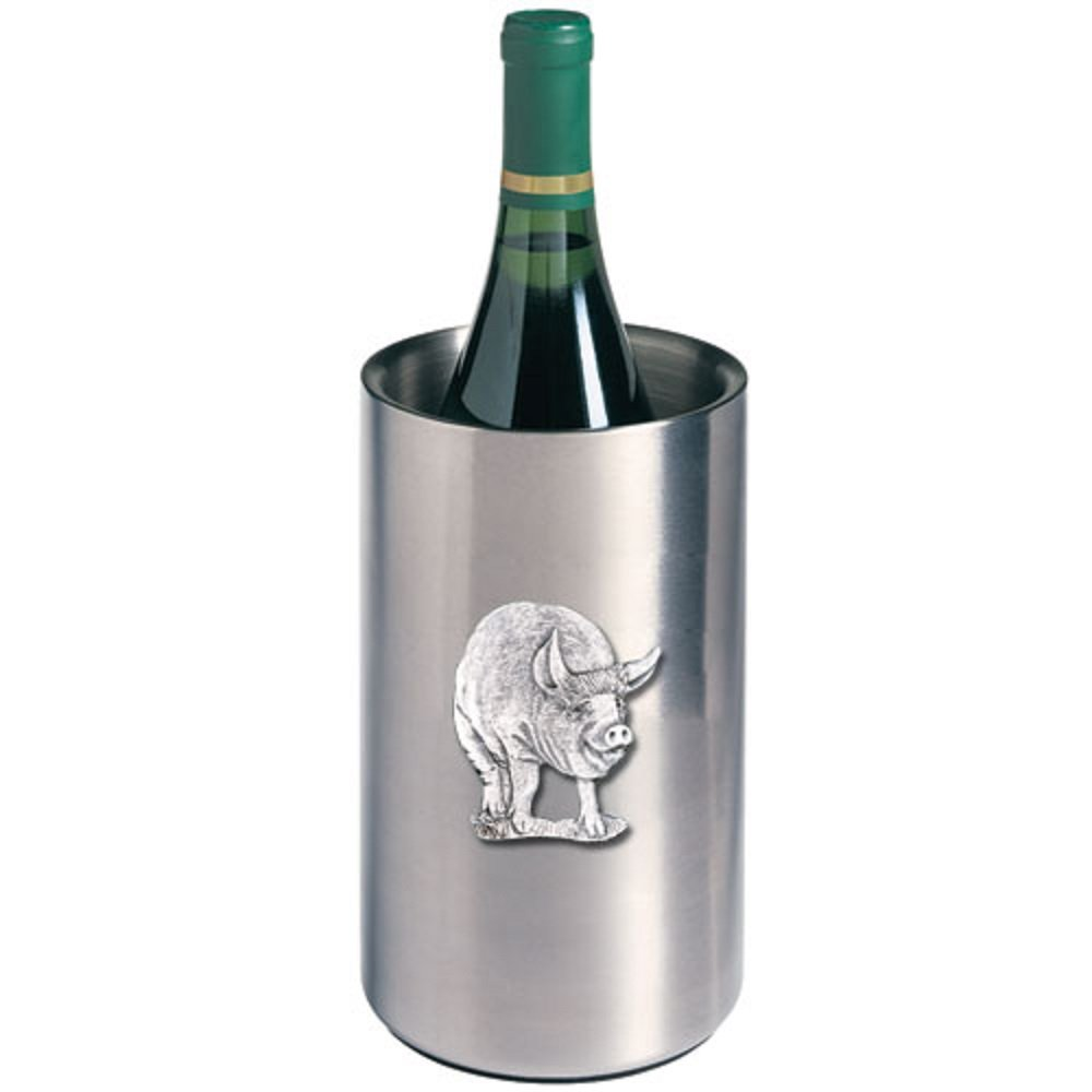 ANIMAL PIG WINE CHILLER, This is a wine chiller made of double-wall insulated stainless steel with a fine pewter logo medallion bonded to the front.
