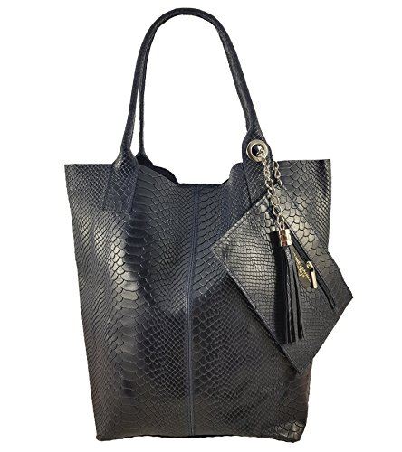 Snake Women's in Tote FreyFashion Italy Dunkelblau Bag Made qtwnv06H