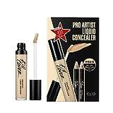 Clio Kill Cover Pro Artist Liquid Concealer, Pencil Brightener & Pencil Concealer 4 Piece Set with Sharpener Tool, 004 BO_Ginger
