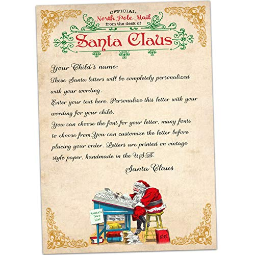 Personalized letter from Santa Claus with envelope, Father Christmas North Pole mail ()