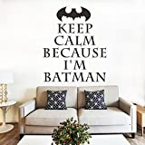 "ufengke® ""KEEP CALM"" Batman Quotes and Sayings Wall Decals, Living Room Bedroom Removable Wall Stickers Murals"