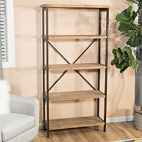 Industrial Rustic Wood Metal Media Cabinet Bookcase With 5 Shelves Includes Modhaus Living Pen