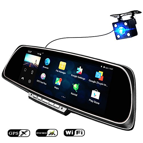 Price comparison product image Anstar Car DVR 6.86 Inch Touch Screen Navigator 1GB and 16GB Android GPS Navigation Mirror Car DVR Dual Lens Rear Parking WiFi FHD 1080p Night Vision