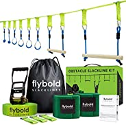 flybold Ninja Obstacle Course Line Kit 40' Slackline 8 Hanging Obstacles with Adjustable Buckles Tree Protecto