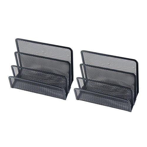 Pawaca Mesh Letter Holder, Barbed Wire Vertical File Sorter Shelf with 3 Upright Sections -(Black, 2 - Order Form Upright