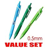 Uni-ball Jetstream Extra Fine Point Click Retractable Roller Ballpointpens, Rubber Grip Type -0.5mm-Color Ink Type - Light Blue,Green,Lime Green Ink- Each 1 Pen- Value Set of 3