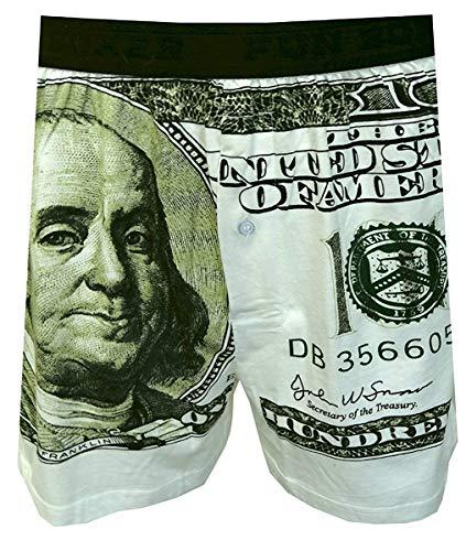 Fun Boxers Mens Fun Prints Boxer Shorts, Big Ben Franklin Enginered, Small