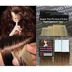 "20pcs 22"" Inches Tape In Remy Seamless Super Thin Skin Weft PU Straight Human Hair Extensions Light Brown #6"