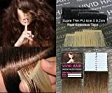 20pcs 22″ Inches Tape In Remy Seamless Super Thin Skin Weft PU Straight Human Hair Extensions Light Brown #6 For Sale