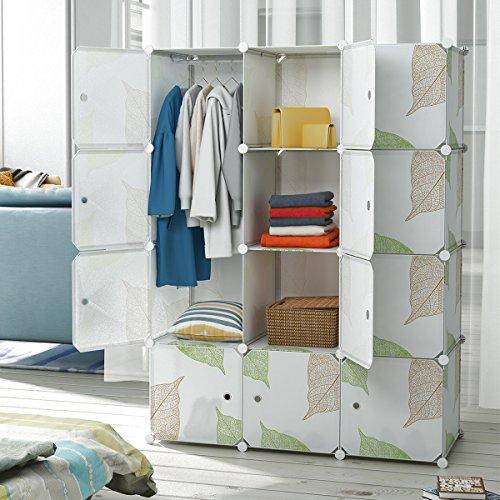 Tespo Portable Clothes Closet Wardrobe Cabinet Bedroom Armoire Storage Organizer with Doors, Capacious & Sturdy Deeper White (Bedroom Wardrobe Doors)