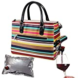 Primeware Insulated Drink Purse w/ 3L Bladder Bag | Thermal Hot and Cold Storage | Portable Drinking Dispenser for Wine, Cocktails, Beer, Alcohol | PU Leather Finish (Nautical Stripe)
