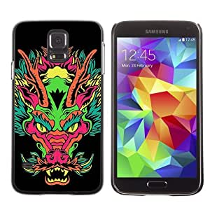 Licase Hard Protective Case Skin Cover for Samsung Galaxy S5 - Japanese Dragon Neon Monster