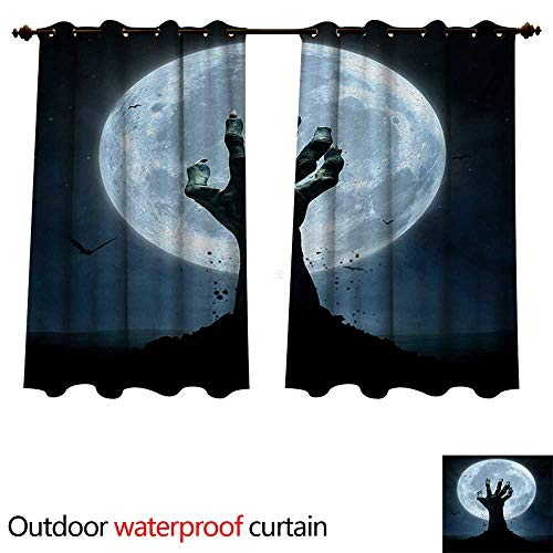 (WilliamsDecor Halloween Outdoor Curtain for Patio Realistic Zombie Earth Soil Full Moon Bat Horror Story October Twilight Themed W96 x L72(245cm x)
