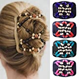 vmree Magic Wooden Beads Stretchy Double Clips Hair Slide Comb Vintage Updo for Long Thick Hair Casual DIY Hairdressing (Blue)