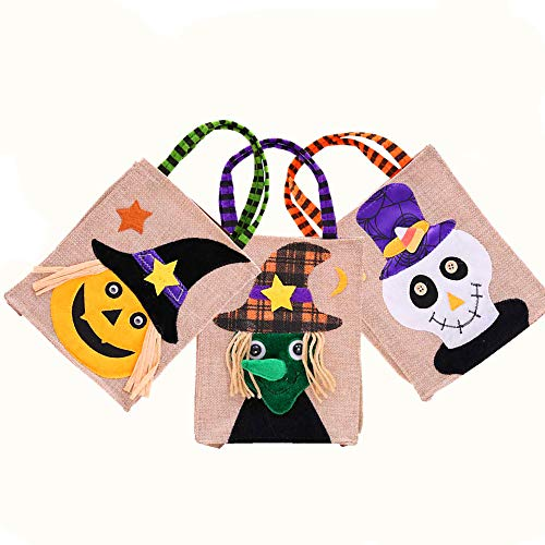 (Handicraft Linen Halloween Pumpkin Tote Gift Bag, Trick or Treat Candy Bags for kids 2-6yrs, Pack of 3)