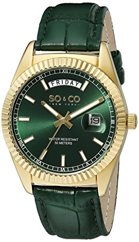 SO&CO New York Men's 5041.3 Madison Quartz 23K Gold-Tone Case Day and Date Green Leather Strap Watch (Green Dial Bezel compare prices)