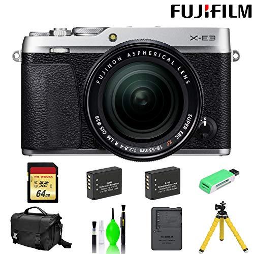 Fujifilm X-E3 Mirrorless Digital Camera with 18-55mm Lens (Silver) with 64 GB Card + Mega Accessory Kit