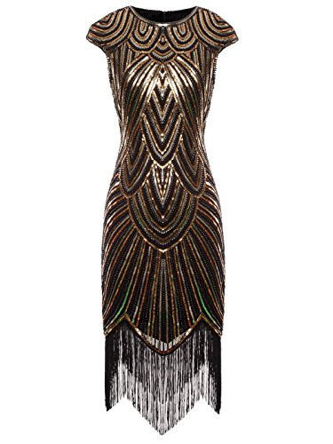 FAIRY COUPLE 1920s Sequined Embellished Tassels Hem Flapper Dress D20S002(XL,Black Gold) -