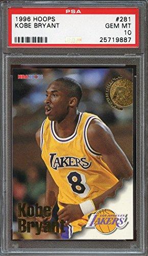 97 Rookie Card (1996-97 hoops #281 KOBE BRYANT los angeles lakers rookie card PSA 10 Graded Card)